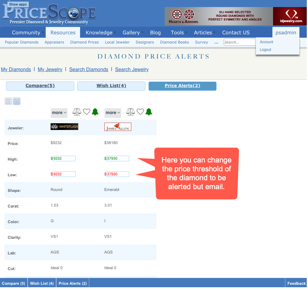 Diamond Search - Price alerts threshold configuration