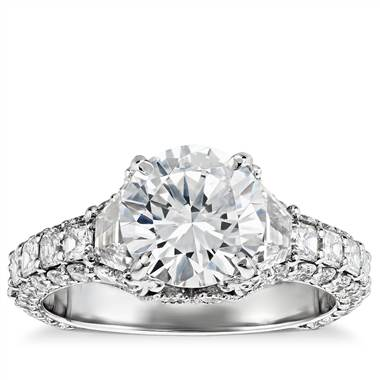 Bella Vaughan for Blue Nile grandeur trapezoid diamond engagement ring set in platinum at Blue Nile