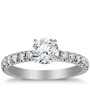 Scalloped pave diamond engagement ring set in platinum at Blue Nile