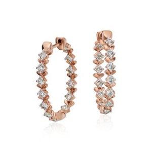 Studio rose petal large diamond hoop set in 18K rose gold at Blue Nile