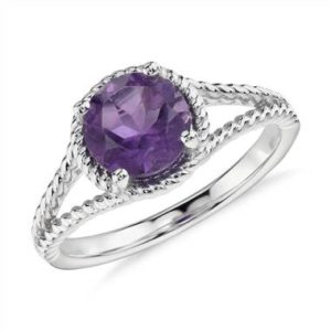Amethyst rope ring in sterling silver at Blue Nile