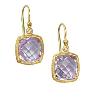 Amethyst earrings set in 14K yellow gold at B2C Jewels