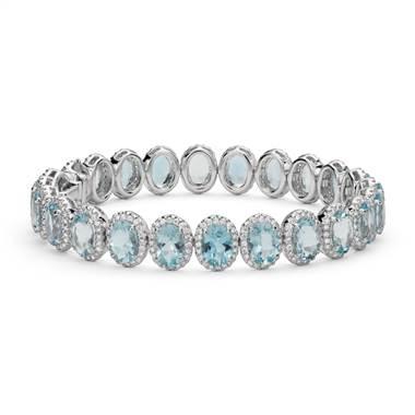Aquamarine and diamond halo bracelet set in 18K white gold at Blue Nile