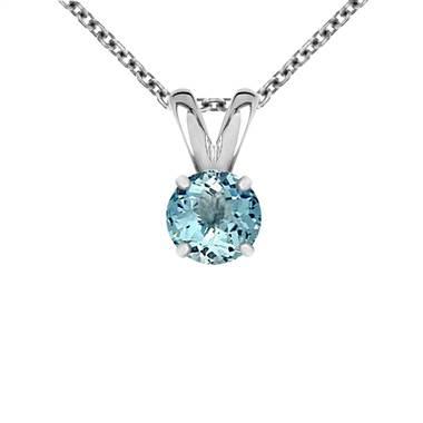 Genuine aquamarine solitaire pendant set in 14K white gold at B2C Jewels