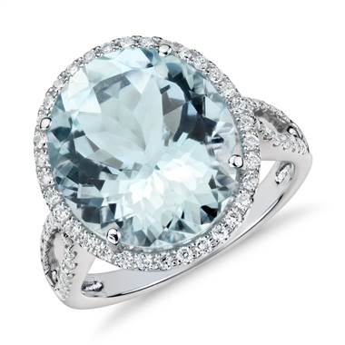 Aquamarine and diamond halo ring set in 18K white gold at Blue Nile