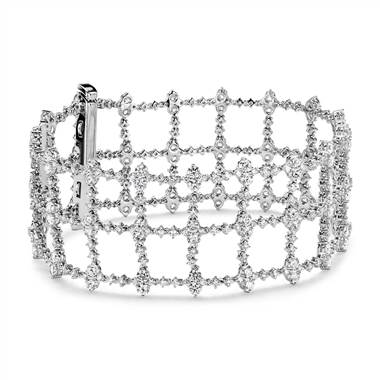 Diamond trelliage bracelet set in 18K white gold at Blue Nile