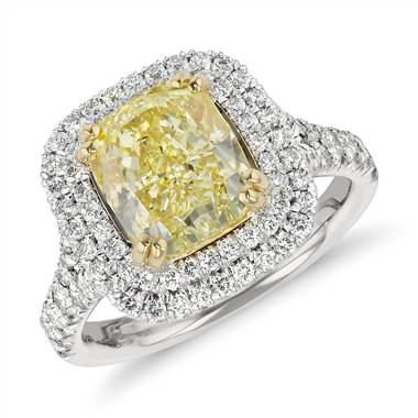 Fancy yellow cushion-cut diamond ring set in platinum at Blue Nile