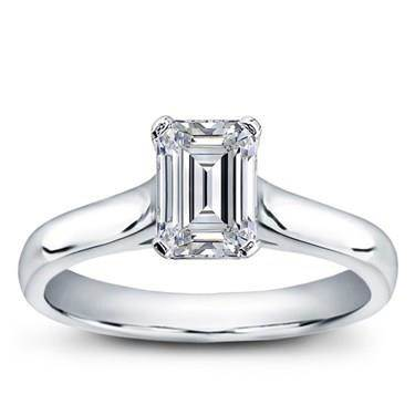 Basket solitaire for emerald cut diamond at Adiamor