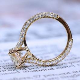 Micro pave diamond engagement ring setting with edge to edge pave set in 18K yellow gold at I.D. Jewelry
