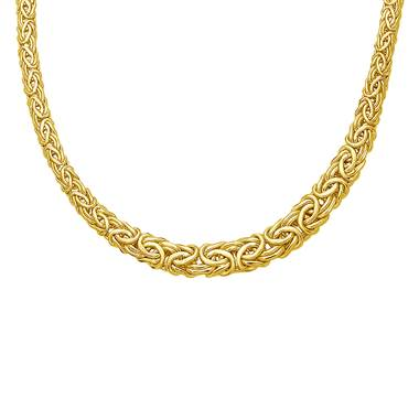 Byzantine link chain necklace set in 14K yellow gold at B2C Jewels