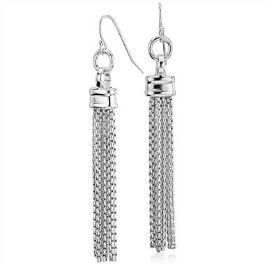 Fringe chandelier box chain drop earrings set in sterling silver at Blue Nile
