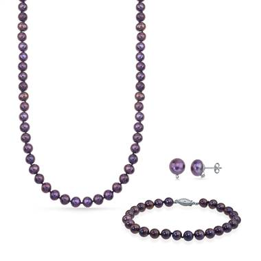 Freshwater peacock pearl jewelry set earrings bracelet necklace at B2C Jewels