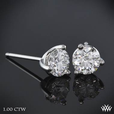 Three prong martini diamond earrings set in platinum at Whiteflash