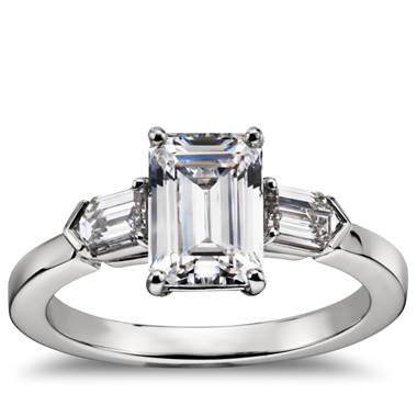 Tapered bullet diamond engagement ring set in platinum at Blue Nile