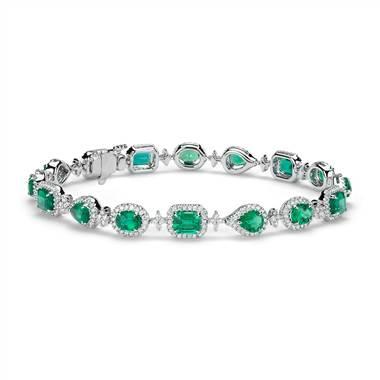 Emerald and diamond halo bracelet set in 18K white gold at Blue Nile