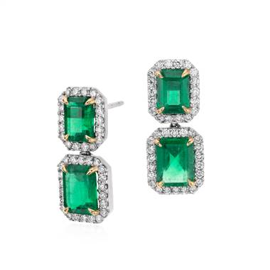 Emerald-cut emerald diamond pave drop earrings set in 18K white gold at Blue Nile