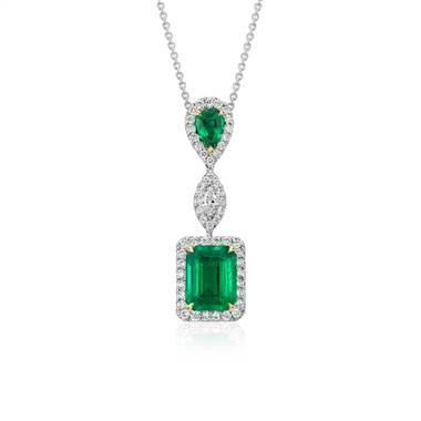 Emerald and diamond drop pendant set in 18K white gold at Blue Nile