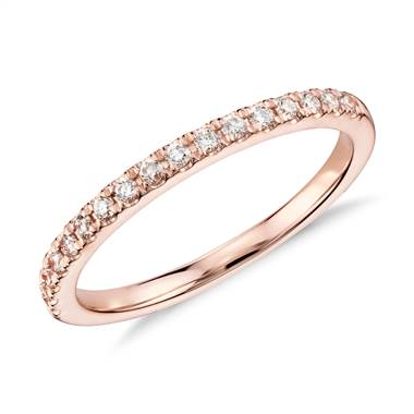 Monique Lhuillier pave diamond ring set in 18K rose gold at Blue Nile
