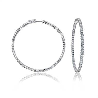 Large inside outside diamond hoop earrings set in 14K white gold at B2C Jewels