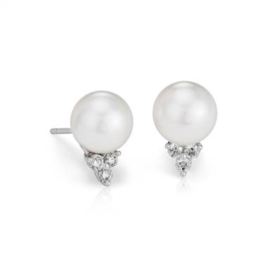 South Sea cultured pearl and diamond stud earrings set in 18K white gold at Blue Nile