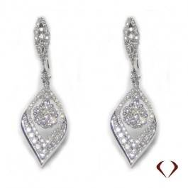 Interesting style calls for interesting earrings, diamond hanging earrings set in 18K white gold at I.D. Jewelry