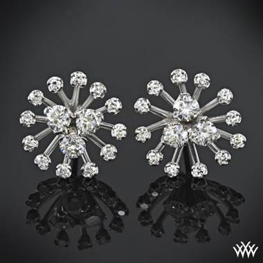 Avoid friendly fire by simplifying your jewelry, wear star cluster diamond earrings set in 18K white gold at Whiteflash