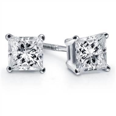 Prong set princess diamond stud earrings set in 18K white gold at B2C Jewels