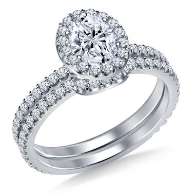 Oval halo engagement ring with matching band set in 14K white gold at B2C Jewels