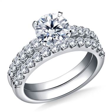 Prong set matching diamond engagement ring and wedding band set in 14K white gold at B2C Jewels