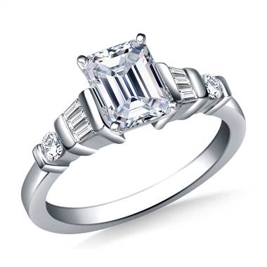 Bar set diamond accent engagement ring set in 18K white gold at B2C Jewels