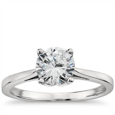 Monique Lhuillier cathedral solitaire engagement ring set in 18K white gold at Blue Nile