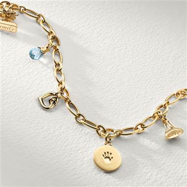 Five charm family heirloom bracelet set in 18K yellow gold at Blue Nile