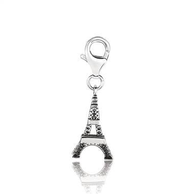 Eiffel tower landmark charm with enamel set in sterling silver at B2C Jewel