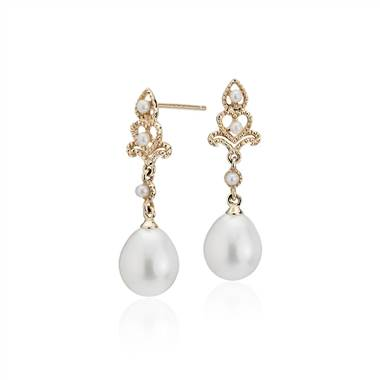 Freshwater cultured pearl vintage-inspired drop earrings set in 14K yellow gold at Blue Nile