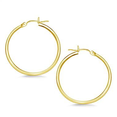 Classic hoop earrings in 14K yellow gold at B2C Jewels
