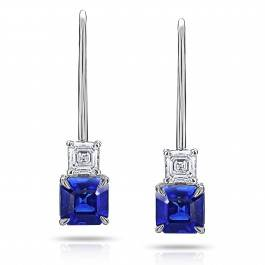 Steal her style: A pair of Asscher cut sapphires and diamonds will hold their own on any red carpet. Asscher cut blue sapphire earrings at I.D. Jewelry