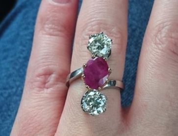 Weeivy originally posted this absolute beauty of a ruby and diamond ring on the Show Me the Bling forum at PriceScope. YES! I love a vertical 3 stone and you just don't see very many of them, as such I am highly enamored with this ring and expect others will be too!