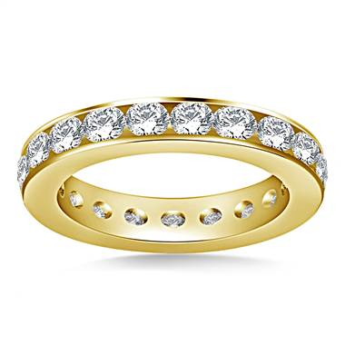 Classic channel set round diamond eternity ring set in 14K yellow gold at B2C Jewels