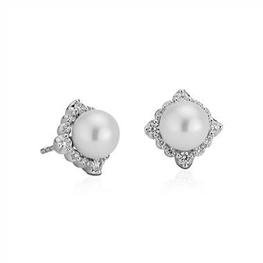 Vintage inspired freshwater cultured pearl diamond halo earrings set in 14K white gold at Blue Nile