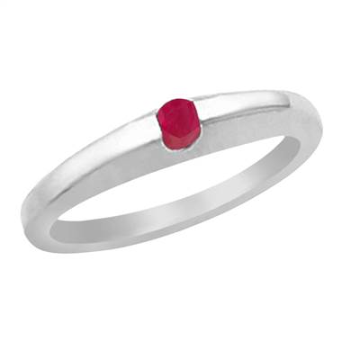 Genuine ruby solitaire ring set in 14K white gold at B2C Jewels