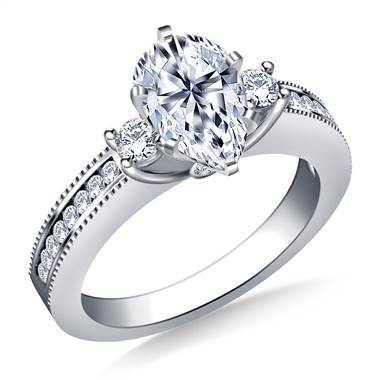 Prong, channel and bezel set diamond ring set in platinum at B2C Jewels
