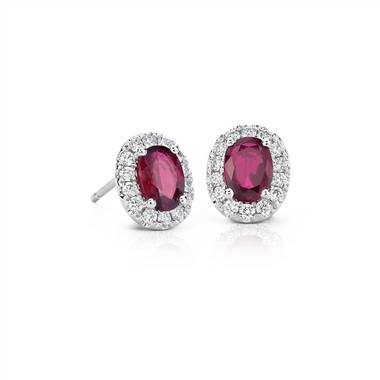 Oval ruby and pave diamond earrings set in 14K white gold at Blue Nile