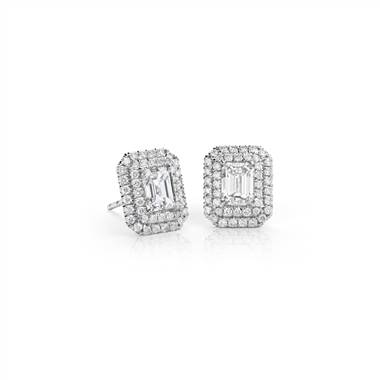 Emerald-cut diamond double halo earrings set in 18K white gold at Blue Nile