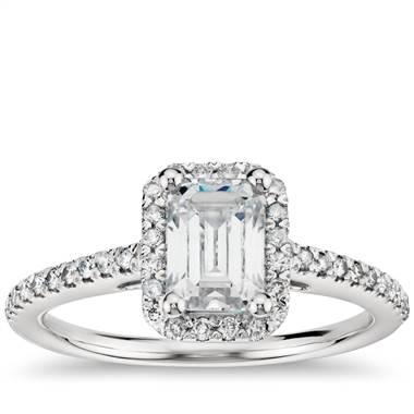 Emerald cut diamond engagement ring set in platinum at Blue Nile