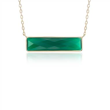 Green agate bar necklace set in 14K yellow gold at Blue Nile