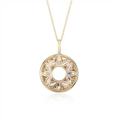 Floral filigree pendant set in 14K white and yellow gold at Blue Nile