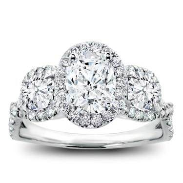 Three stone halo diamond engagement setting for oval at Adiamor