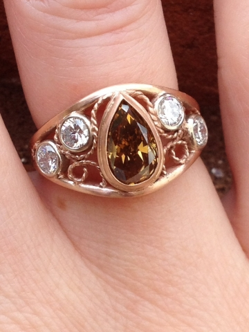 Cognac Diamond Anniversary Ring