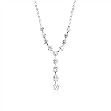 Diamond y-necklace set in 18K white gold at Blue Nile