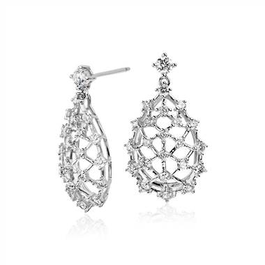 Studio galaxy diamond drop earrings set in 18K white gold at Blue Nile